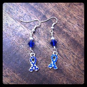 Jewelry - 💙❤️Rhinestone Beaded Ribbon Earrings❤️💙